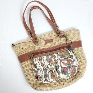 Sakroots Women's Beige Knit Shoulder Bag Fob Flora